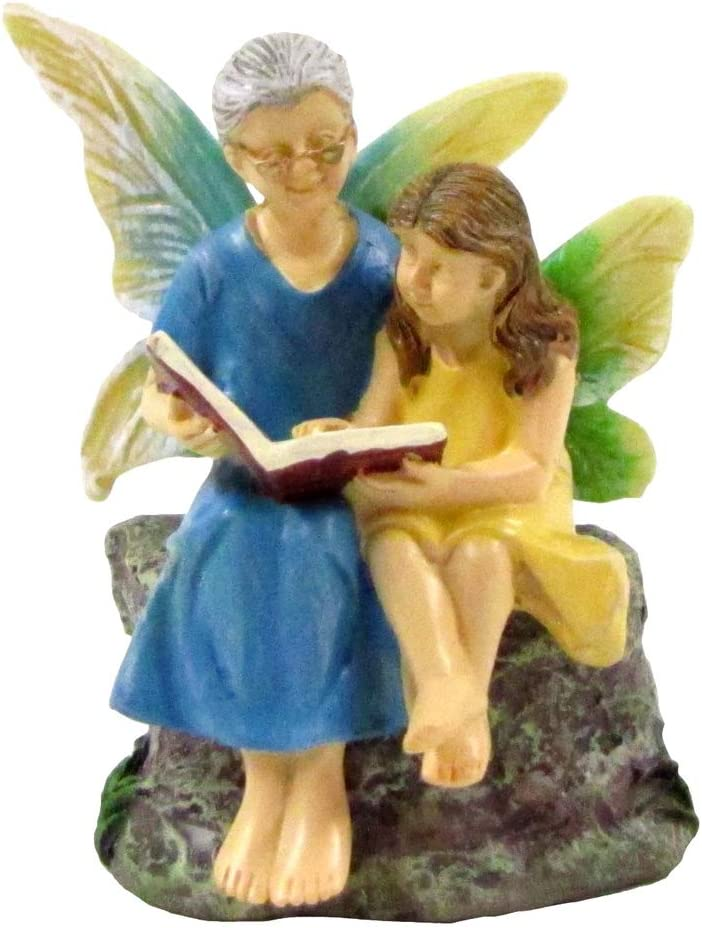 TG,LLC Treasure Gurus Mini Fairy Girl Grandma Reading Figurine Garden Accessory Outdoor Decor Ornament