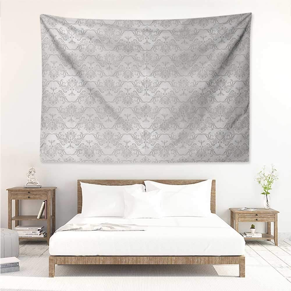 alisos Grey,Tapestry for Home Decor Vintage Rococo Motifs Inspired by Antique Damask Style Victorian Garden Revival Art 84W x 70L Inch Bedroom Wall Hanging Pale Grey