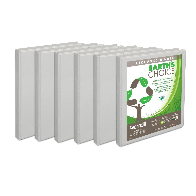 Samsill Earth's Choice Biobased Presentation Binder, 3 Ring Binder, Half Inch, Round Ring, Customizable, White, 6 Pack