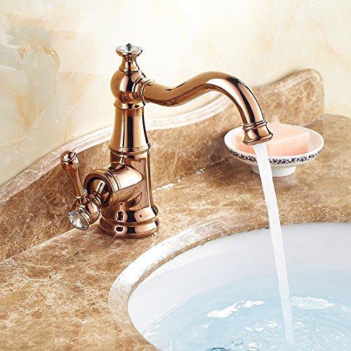 GFEI antike Gold, diamanten, kupfer wasserhahn, Europäischen stil bad, tabelle becken, warmen und kalten wasserhahn,Rosa Gold,b