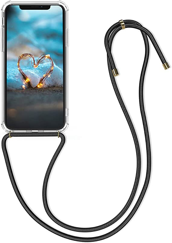kwmobile Crossbody Case for Apple iPhone Xs Max Clear Transparent TPU Cell Phone Mobile Cover Holder with Neck Cord Lanyard Strap