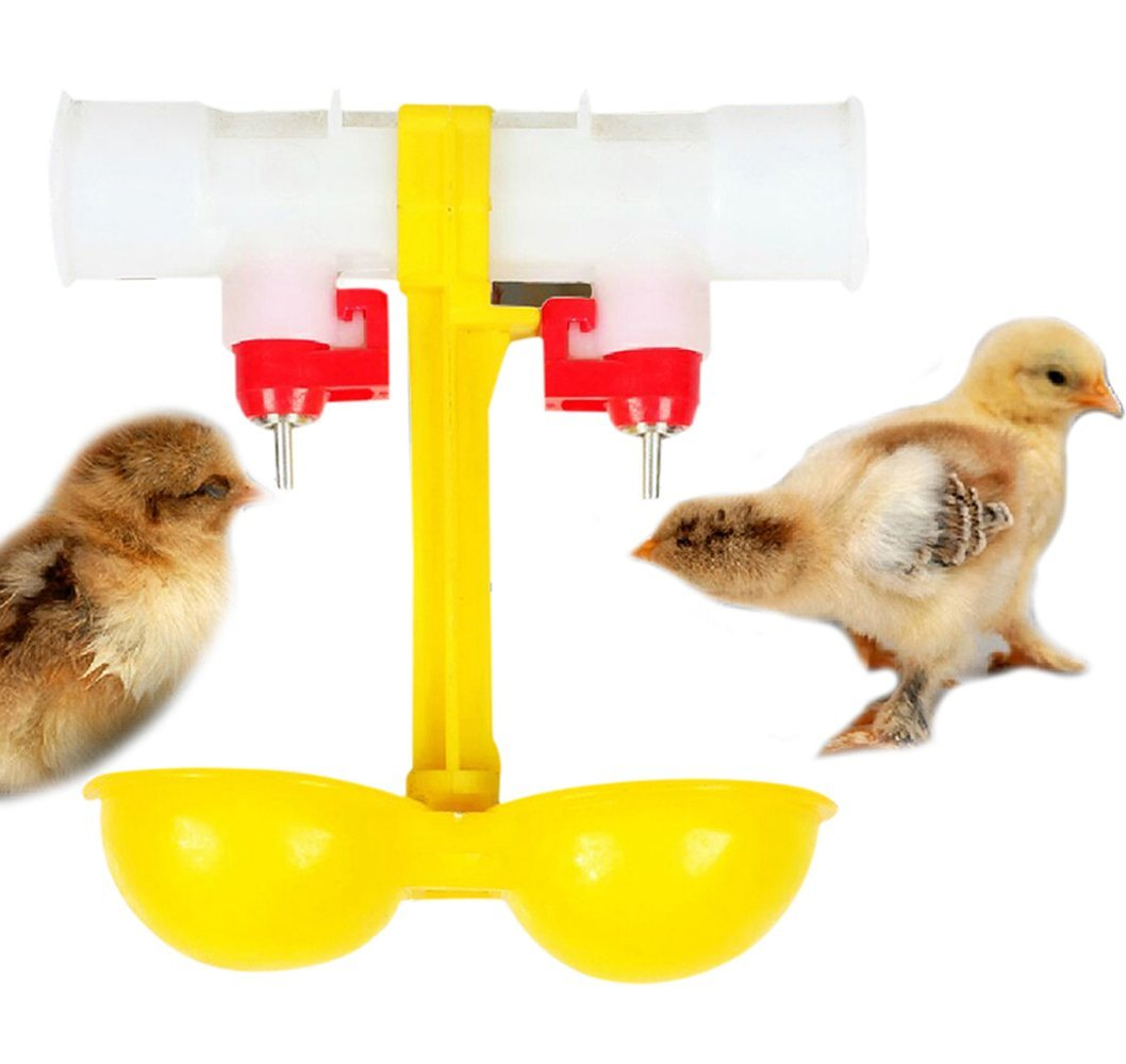 Yunt Double Feeder Drinker Poultry Drinker Cup Water Drinker For Chickens Hens Ducks Chicks, etc.