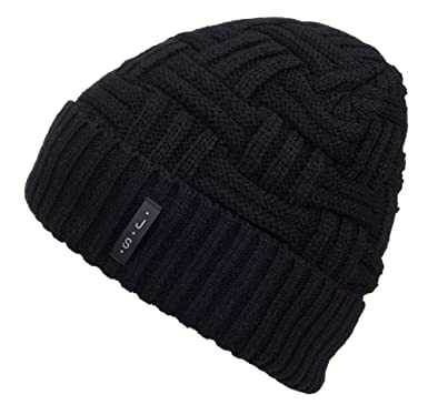 888a3e4b1ef355 METOG Unisex Winter Knitting Wool Hat Soft Stretch Cable Knit Hats Beanie  Skull Cap Warm Black