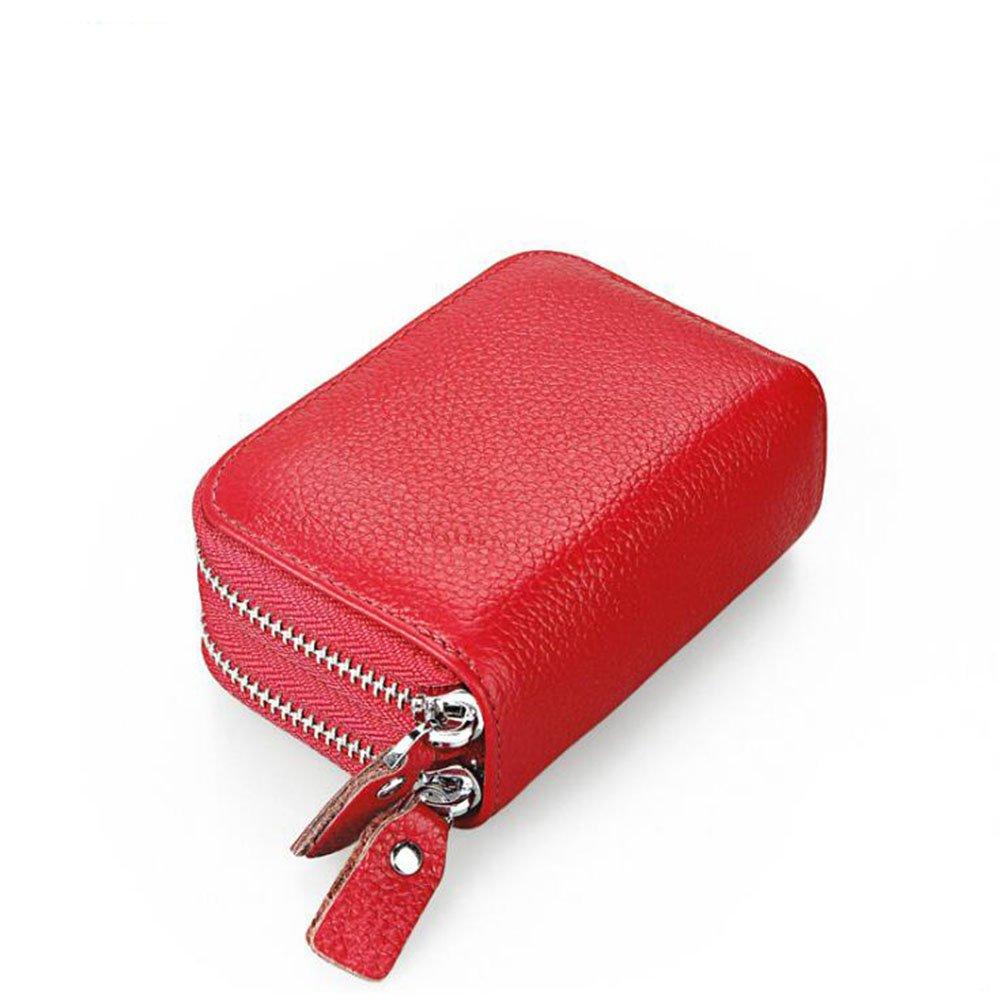 DcSpring Porta Carte di Credito in Vera Pelle Portafoglio Piccolo Protezione RFID Portamonete Cerniera per Donna (Black)