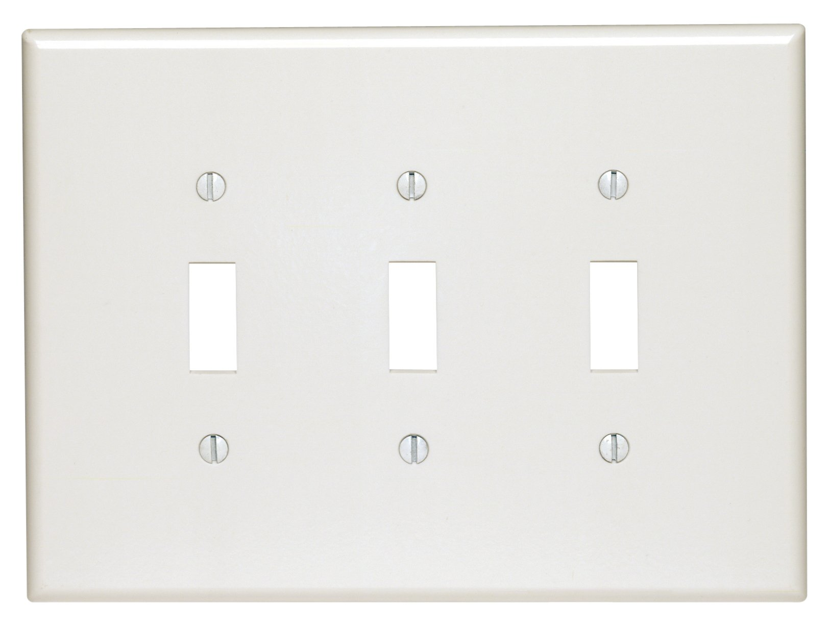 Leviton 88111 3-Gang Toggle Device Switch Wallplate, Oversized, Thermoset, Device Mount, White by Leviton