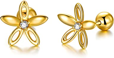 Amazon Com 14k Solid Gold Flower Earrings For Women Delicate Gold Daisy Flower Studs For Sensitive Ear Jewelry Gift For Girls Christmas Birthday Engagement 9 Mm Clothing