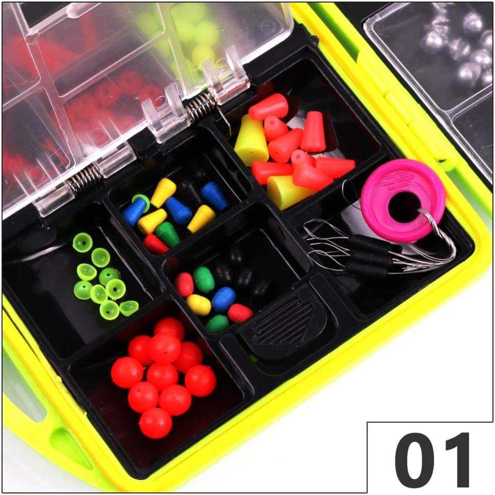 Elikliv Fishing Tackle 24 Grid 202PCS Fishing Accessories Set Box ABS Compartments Fishing Tool Set Tackle Box Full Loaded Lure Bait Hooks Sinker Fishing Accessories