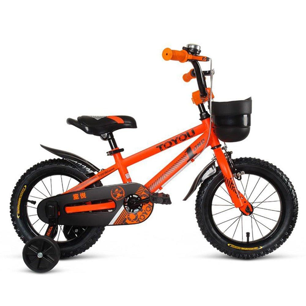 子供用自転車、12/14/16/18インチベビーガールサイクリング、3-10歳の子供ベビーキャリッジ ( 色 : オレンジ , サイズ さいず : 115cm ) B078KP7BGQ 115cm|オレンジ オレンジ 115cm