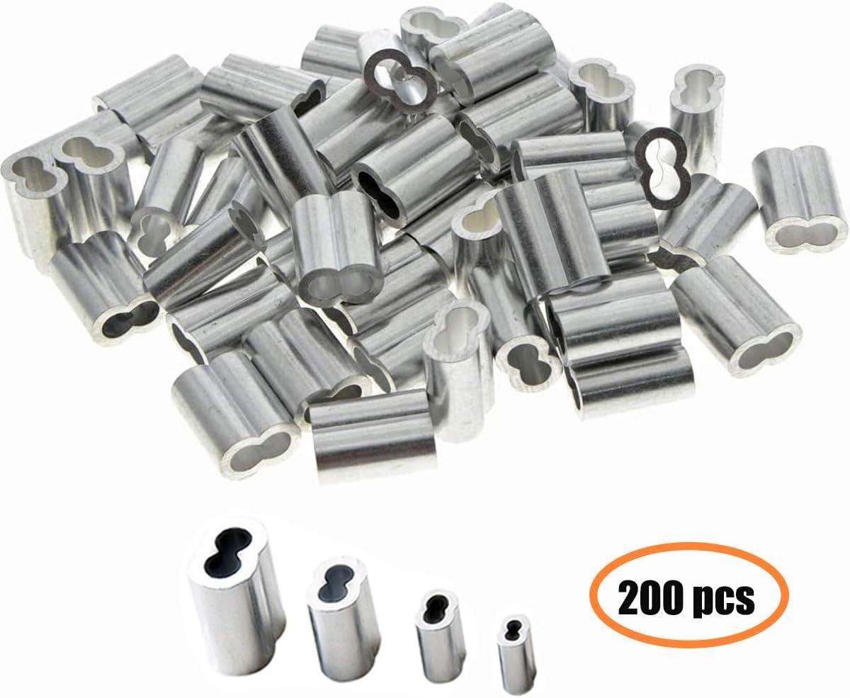 Dancepandas Boucle de Sertissage en Aluminium 200PCS Manchon Cable Acier 2MM Manchon /à Sertir pour Fil et C/âble 4 tailles