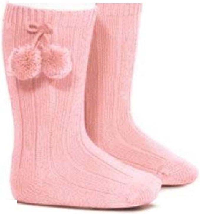 Baby Girls 1 Pair of Pom Pom Knee High Socks Cream Newborn 3-6 6-12 Months