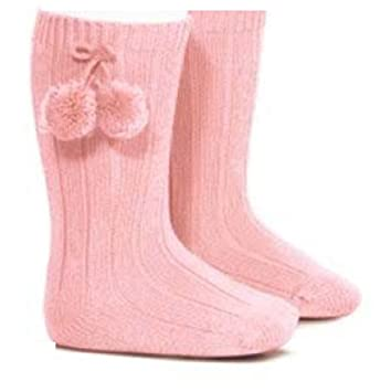Baby Boys Girls 1 Pair Pom Pom Spanish Romany Style Knee-Length Stretch Socks In Multi Colours S47 3-6 Months, Pink