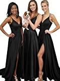 Lilyla Womens Sexy Long Bridesmaid Dresses V Neck Split Satin Prom Evening Gowns