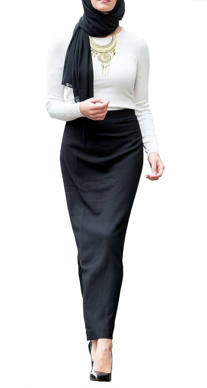 Urban Modesty Womens Black Formal Pencil Maxi Skirt
