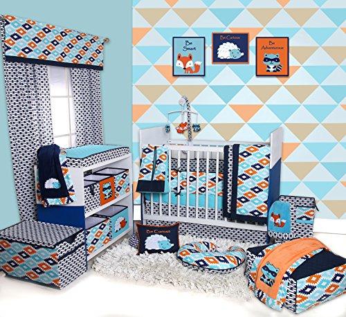 Bacati-Liam-Aztec-10-Piece-Nursery-in-a-Bag-Cotton-Percale-Crib-Bedding-Set-with-Bumper-Pad-AquaOrangeNavy
