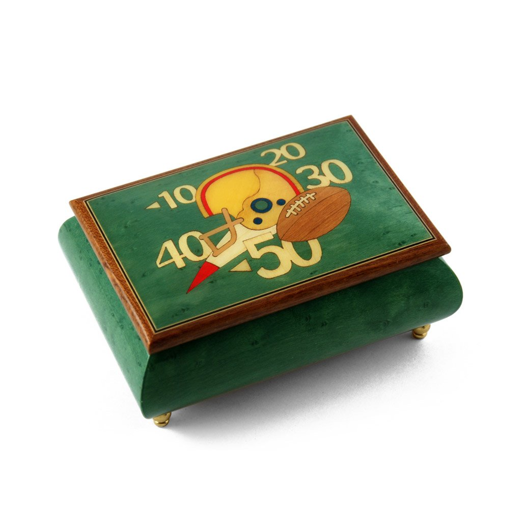 Sports Theme Wood Inlay: Football - Collectible 30 Note Musical Jewelry Box - Love is Blue