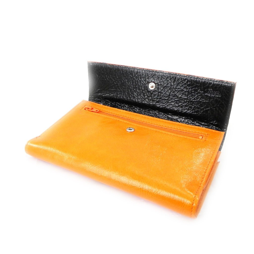 Wallet + checkbook holder leather ''Frandi'' orange black lacquer. by Les Tresors De Lily (Image #4)