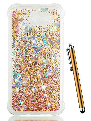 For Samsung J3 Emerge Case 2017/Galaxy J3 Prime/J3 Mission/J3 Eclipse/J3 Luna Pro/Sol 2,CAIYUNL Floating Sparkle Glitter Liquid Phone Case Clear Luxury Bling Quicksand Soft Slim TPU Cover - Case Display Floating Baseball