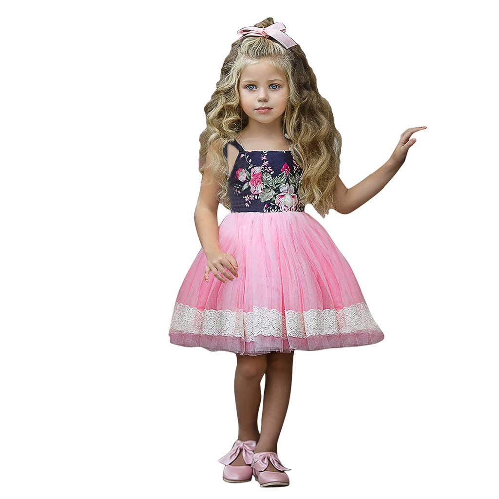 0-4T Toddler Infant Baby Girls Floral Print Strap Dresses Cute Tulle Tutu Lace Brim Dresses Trendy Sleeveless Party Dresses