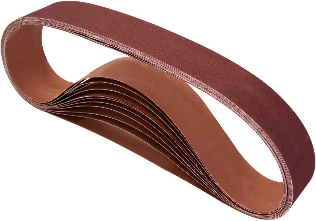 POWERTEC Sanding Belt Sander Replacement Aluminum Oxide 6 x 48 400 Grit 10 Pack