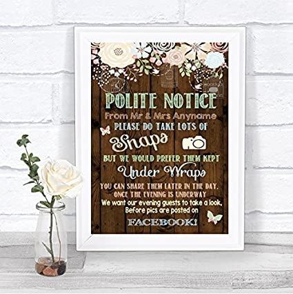 Social Media A5 wedding sign.Vintage//Rustic Personalised No photos on Facebook
