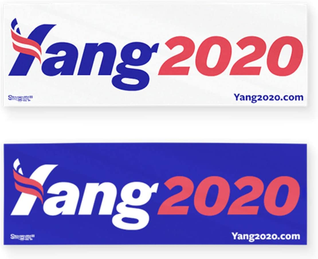 Pack of 2 Andrew Yang Bumper Sticker Combo Blue /& White 3 x 9