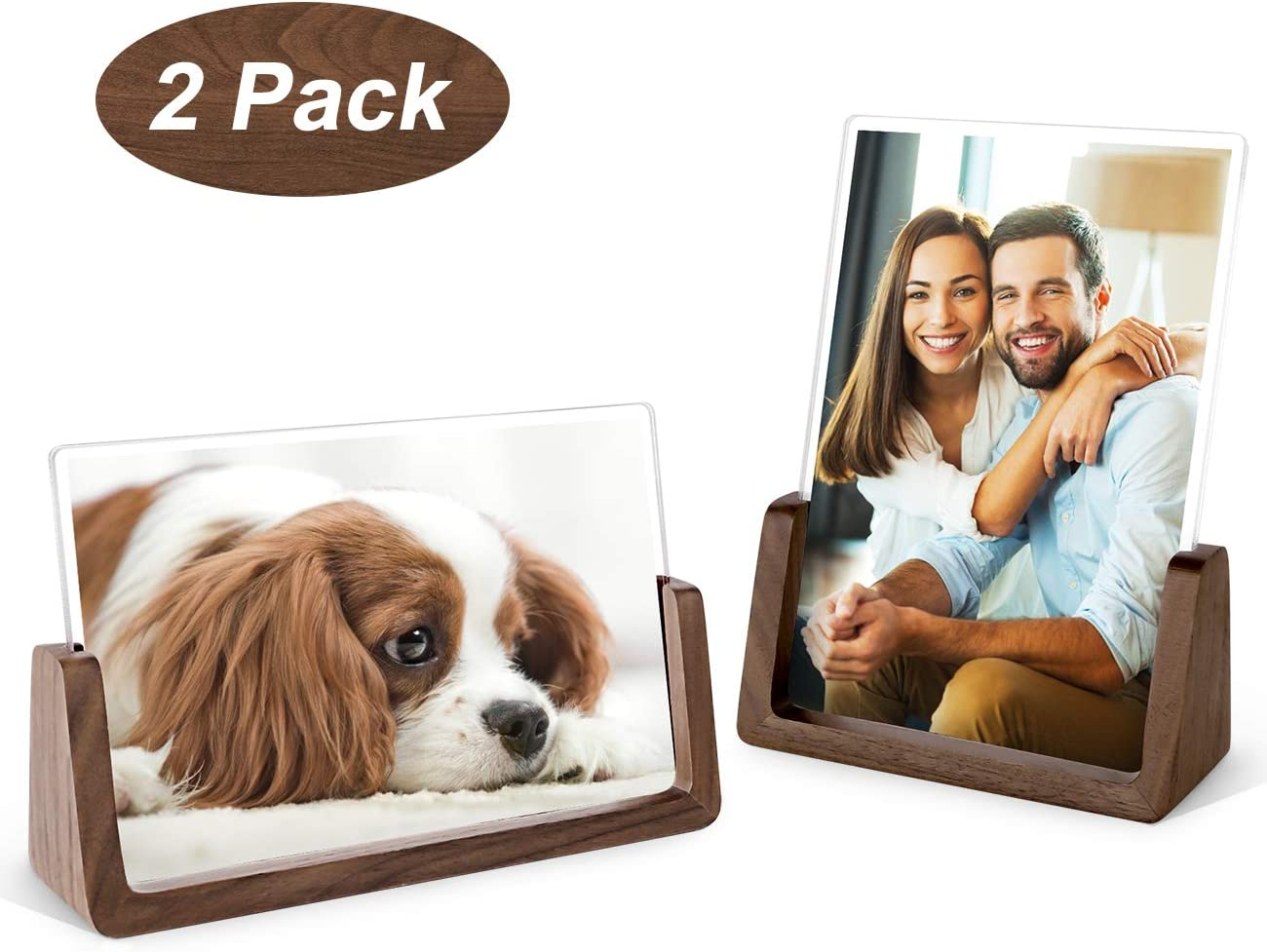 Mixoo 4x6 Wood Photo Picture Frame 2 Pack - Rustic Wooden Picture Frame with Walnut Wood Base and High Definition Break Free Acrylic Covers for Tabletop or Desktop Display (Horizontal + Vertical)