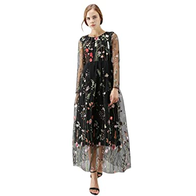 0529f344cf5 Chicwish Women  s Floral Embroidery Flower Maxi Black Mesh Tulle Tutu Dress  Medium