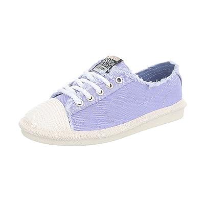 d4b9af39b6e181 Ital-Design Sneakers Low Damen-Schuhe Sneakers Low Sneakers Schnürsenkel  Freizeitschuhe Lila