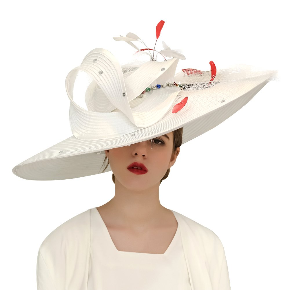 Kueeni Women Hats Hot Red Color Church Hats Lady Party Wear Fedoras Hats (White)