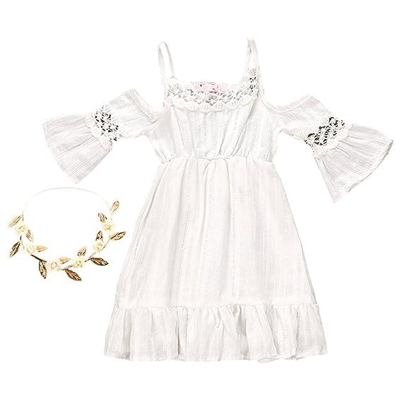 ec423fc3b HOMYL Kids Girls White Maxi Long Sundress Boho Dress   Flower ...