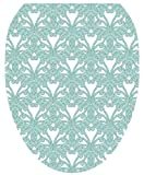 Toilet Tattoos TT-3001-O Queen Ann's Lace Aqua Decorative Applique for Toilet Lid, Elongated