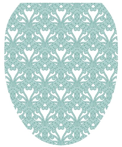Toilet Tattoos TT-3001-O Queen Ann's Lace Aqua Decorative Applique for Toilet Lid, Elongated by Toilet Tattoos