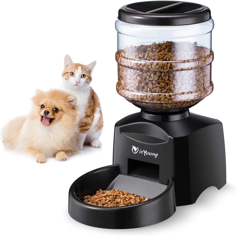 isYoung Comedero Automático 5.5 L de Alimentos para Mascotas Gatos y Perros Alimentador de Mascotas de Control Electrónico con Gran Pantalla LCD y Registro de Voz Temporizador de Comida