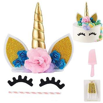 Pastel unicornio, Cake Topper para bodas, cumpleaños, baby shower, 1st Birthday Diy kit tarta con flores rosa, orejas, ojos decoración, Copa Pastel ...