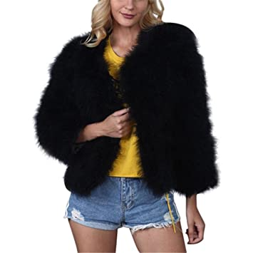 3c4ed546f98 Amazon.com: Kimloog Women Vintage Short Faux Fur Winter Warm Coat Fluffy  Soft Jacket Outwear (2XL, Black): Home Improvement