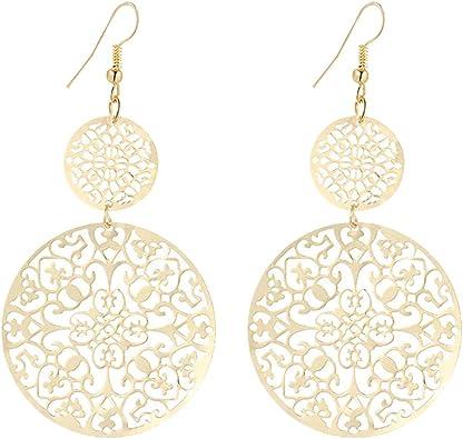 Wavy Filigree Dangle Inner Circle Drop Hook Earrings-Women/'s Jewelry