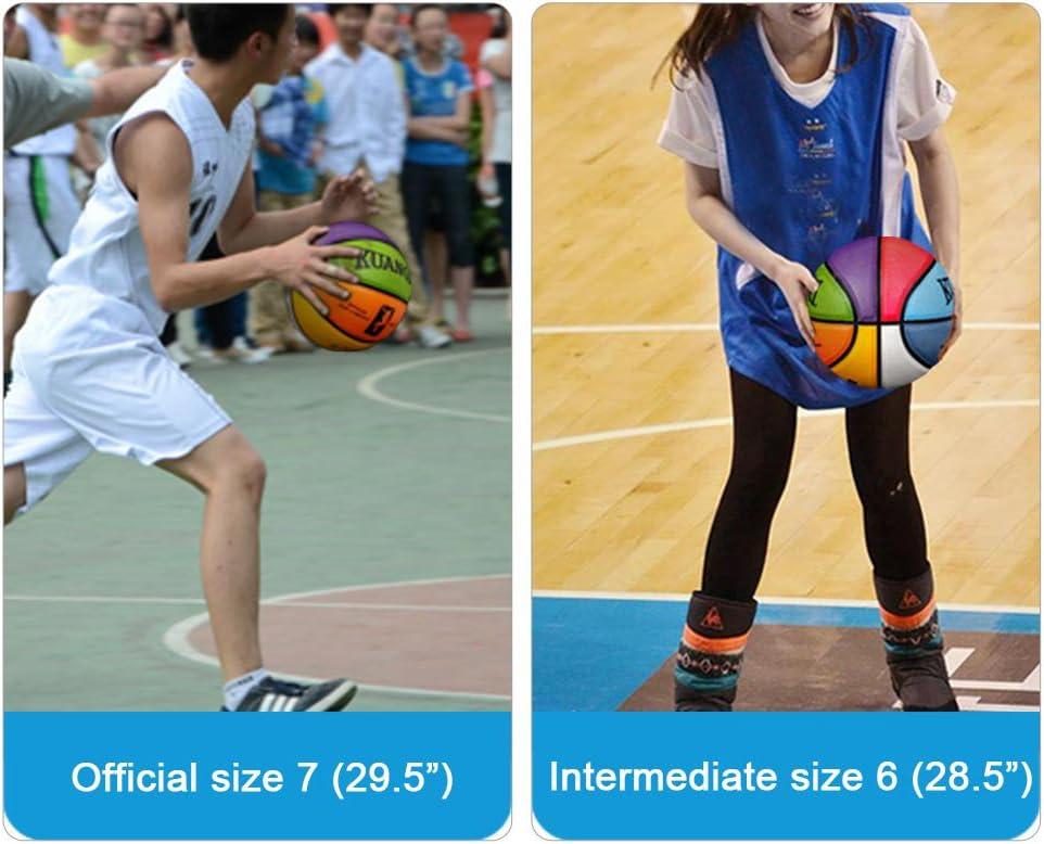 Kuangmi Squadra Colori Crossover 3 Dimensione Intermedia Pallone da Basket misura 7 /& dimensioni 6 e dimensioni 5 dimensioni 4 dimensioni 3 per uomo Donna e Bambino