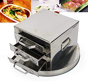 3 Layer Stainless Steel Steamer Drawer Food Steaming Machine Rice Noodle Rolls Cooker Baking Container for Commercial Home Kitchen
