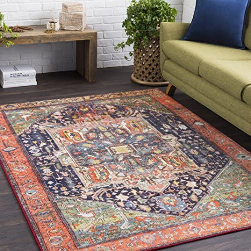 "Tess Coral and Dark Blue Updated Traditional Area Rug 5'3"" x 7'3"