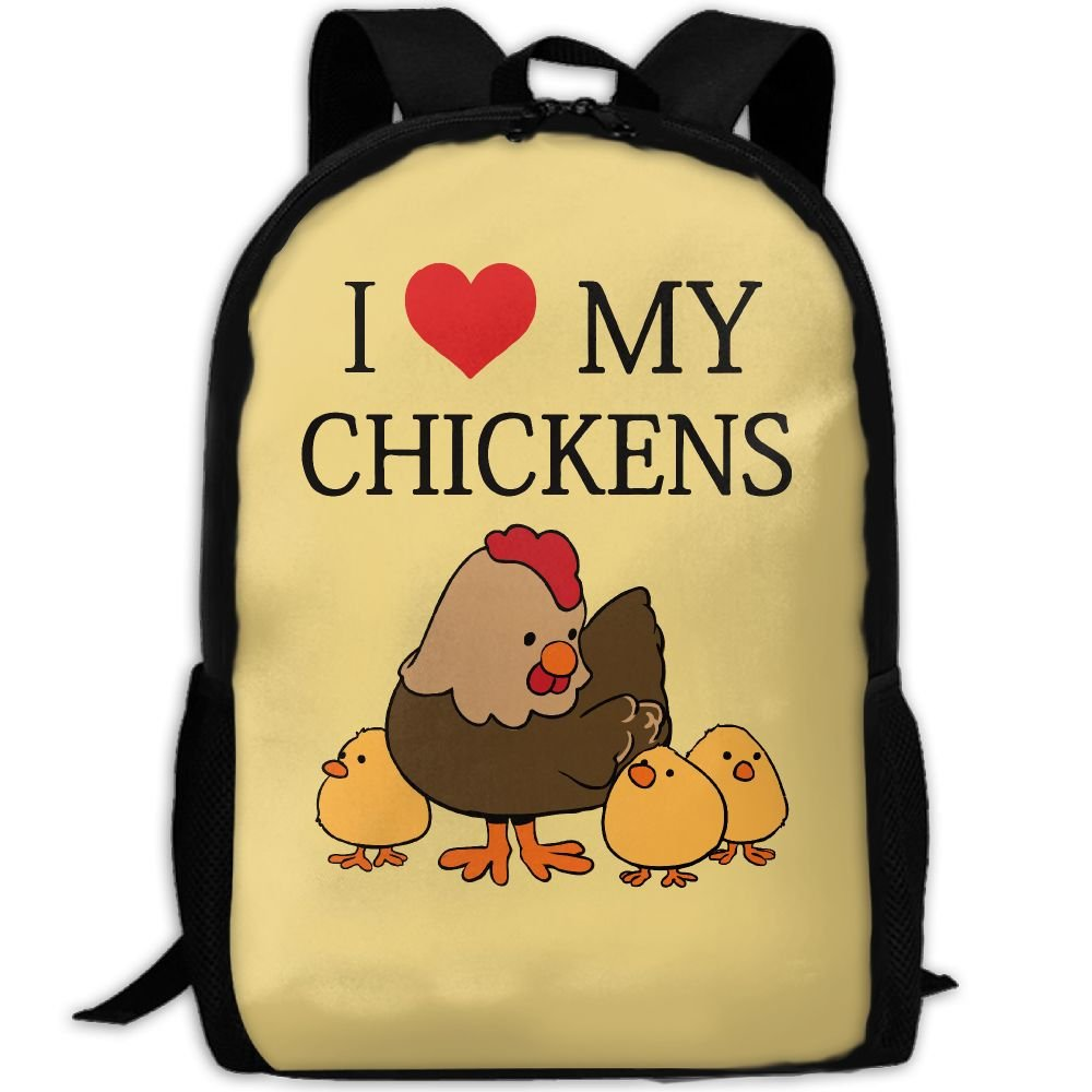 CY-STORE Cute Animal I Love Chickens Outdoor Shoulders Bag Fabric Backpack Multipurpose Daypacks For Adult