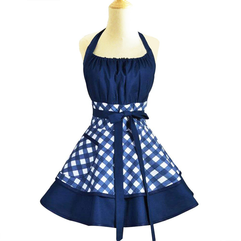 Vintage Apron for Women with Pockets Adjustable Bib Apron,Cotton Kitchen Aprons Plus Size Cooking Aprons with Extra Ties 22×30 inch (blue)
