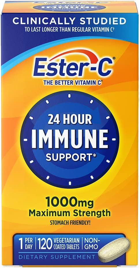 Vitamin C by Ester-C, 24 Hour Immune Support, 1000mg Vitamin C, 120 Coated Tablets: Health & Personal Care