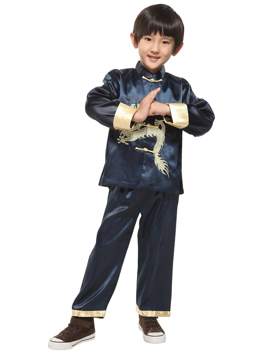 Yodensity Mangas Largas Unisex Niños Traje de Artes Marciales Kung Fu Uniformes Ropa De Tai Chi Disfraces Trajes de chino tradicional del dragón bordado