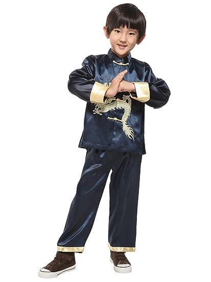 Amazon.com: Evaliana Kids Chinese Dragon Embroidered Tang ...