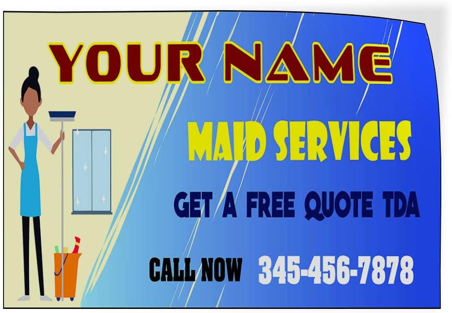 Custom Door Decals Vinyl Stickers Multiple Sizes Maid Services Free Quote Name Phone Business Maid Services Outdoor Luggage /& Bumper Stickers for Cars Red 66X44Inches 1 Sticker