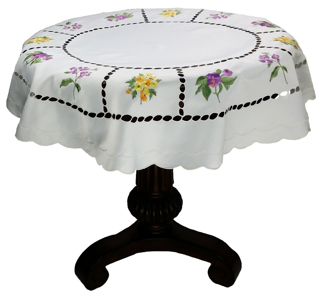 Xia Home Fashions Bouquet Embroidered Cutwork Spring Table Topper, 36 by 36-Inch