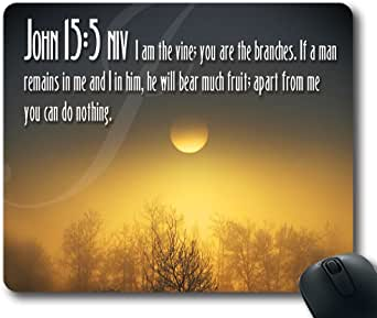 Inspirational Bible Verse Quotes John 15:5 Oblong Mouse Pad in 240mm200mm3mm VQ0711011
