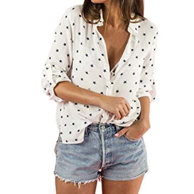 d8b1de93 Image Unavailable. Image not available for. Color: Rambling Sexy Women  Chiffon Stars Print Slim Fit Roll-up Long Sleeve Button Down White