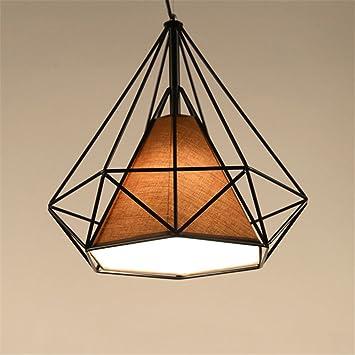 cff3abf43ab07 Lampes de Plafond Créatif Abat-Jour pour Lampe Suspension Lustre Cage en  Fer Forme Diamant avec Douille Eclairage Style Industrielle(sans ampoule)  ...