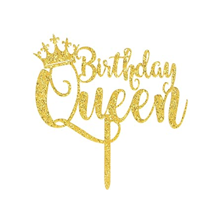 Karoo Jan Queen Birthday Cake Topper Gold Glitter Happy 16th